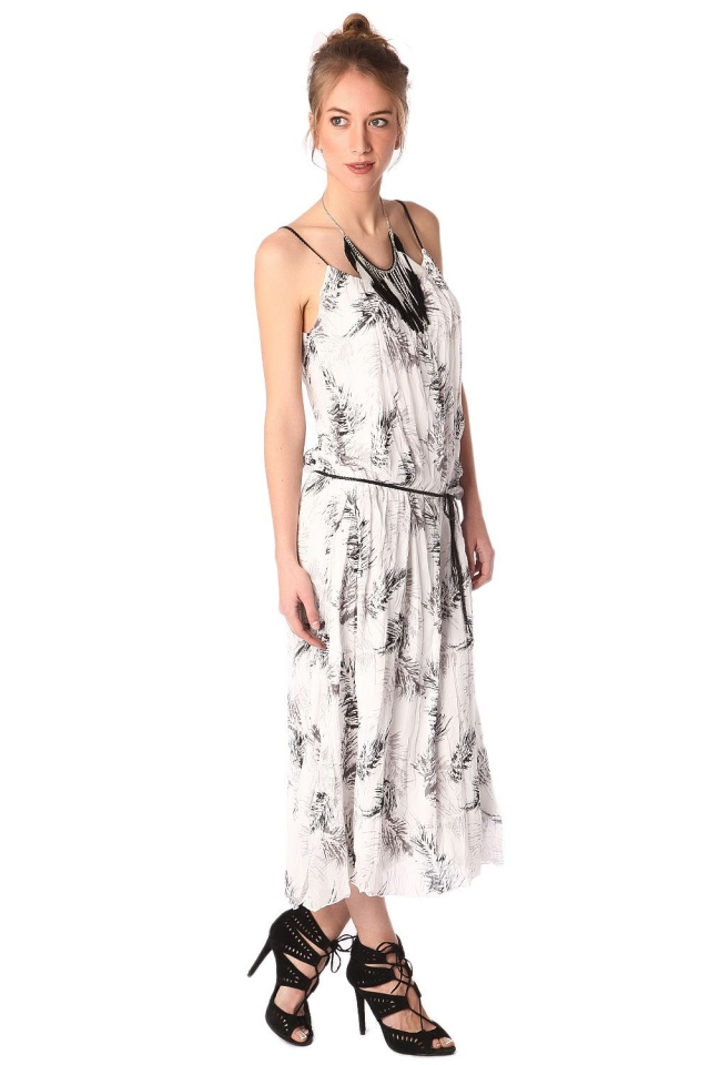 Maxi robe imprimée blanc avec ceinture