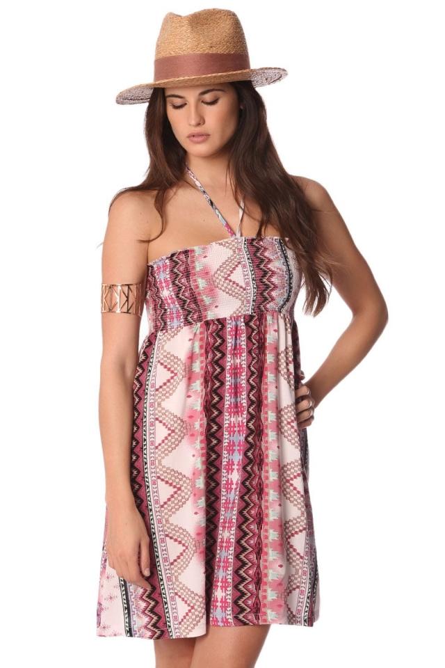Robe bandeau á imprimé aztèque et dos nu avec bretelles à nouer