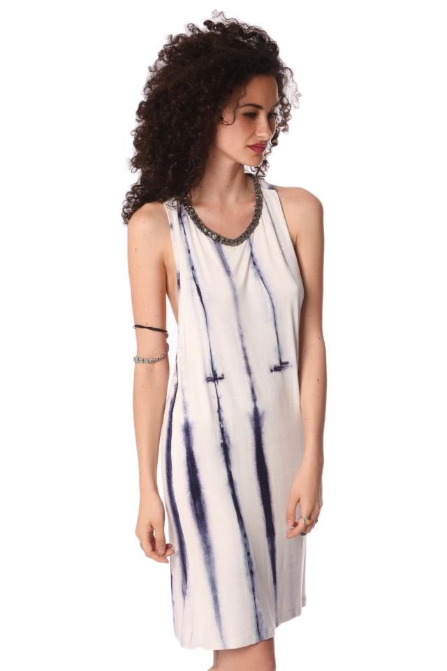 Robe nuisette effet tie-dye bleu avec dos ouvert