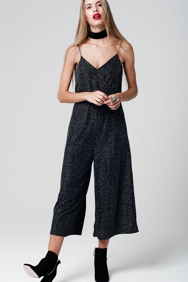 Noir combinaison caraco coupe jupe-culotte tissu métallique