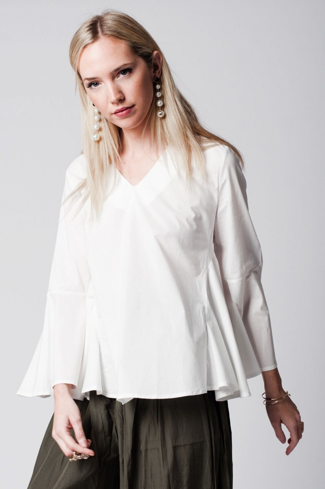 White V neck top with bell sleeves