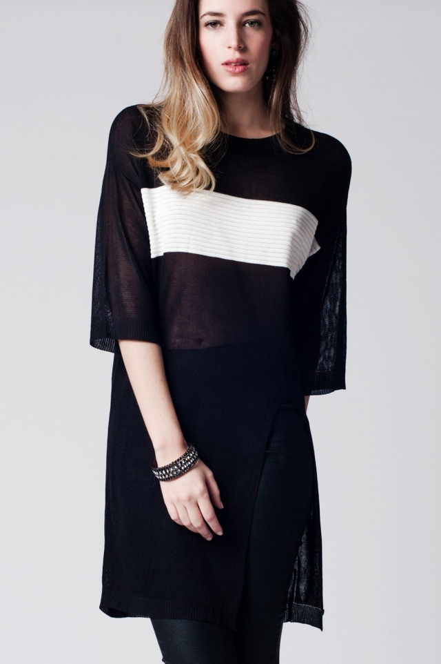 Black longline top with contrast stripe and split front