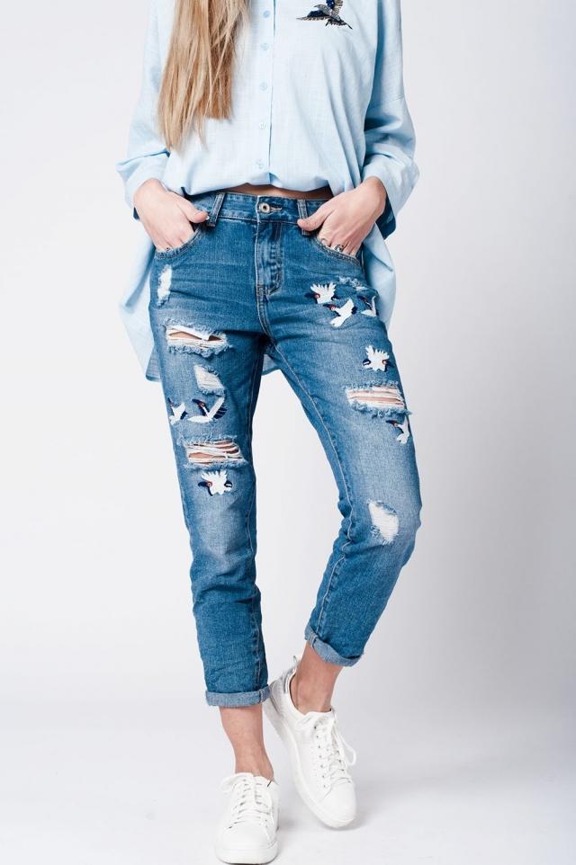 jean bleu motif oiseaux