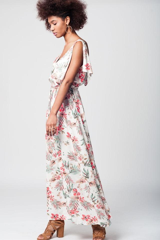 White maxi beach dress with floral print
