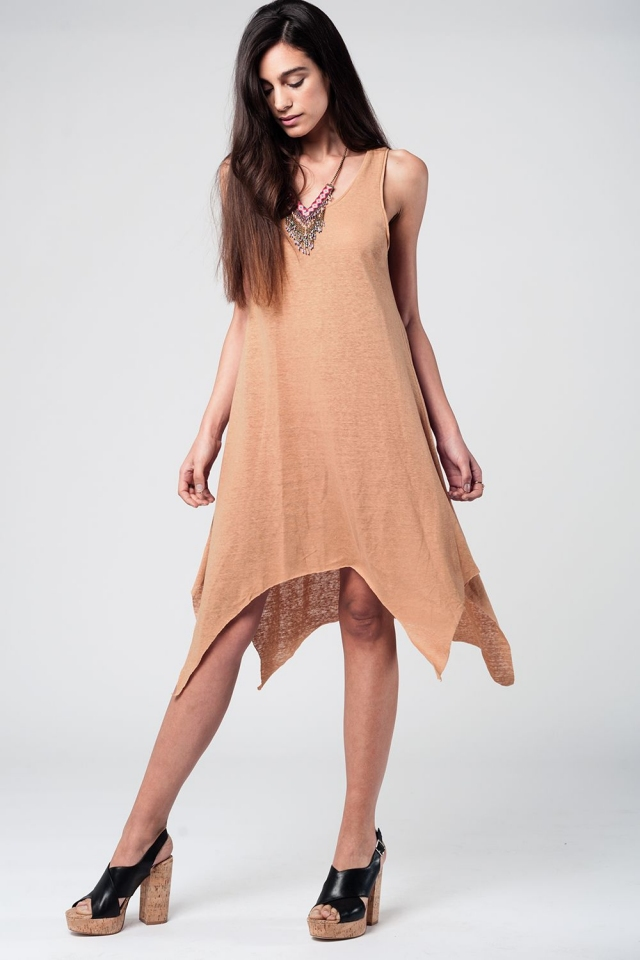 Camel Sun Dress With Dipped Hem