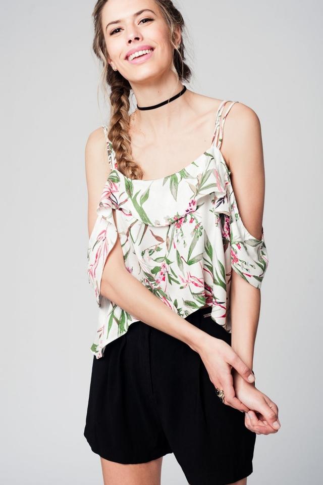 Top imprimé tropical vert avec épaules dénudées