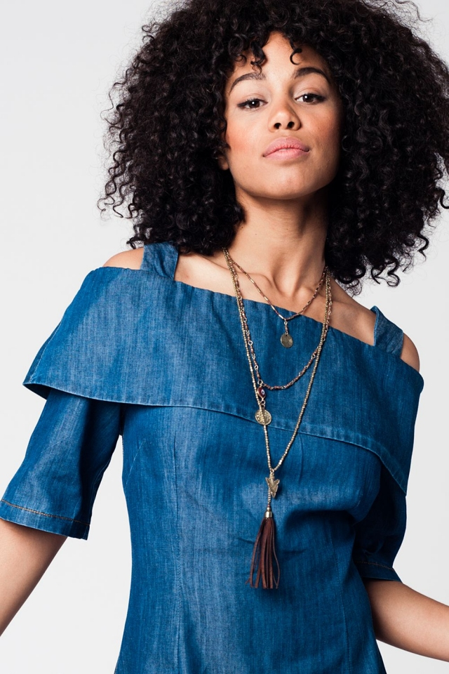 Brown longline necklace with multiple chains and fringes and gold details
