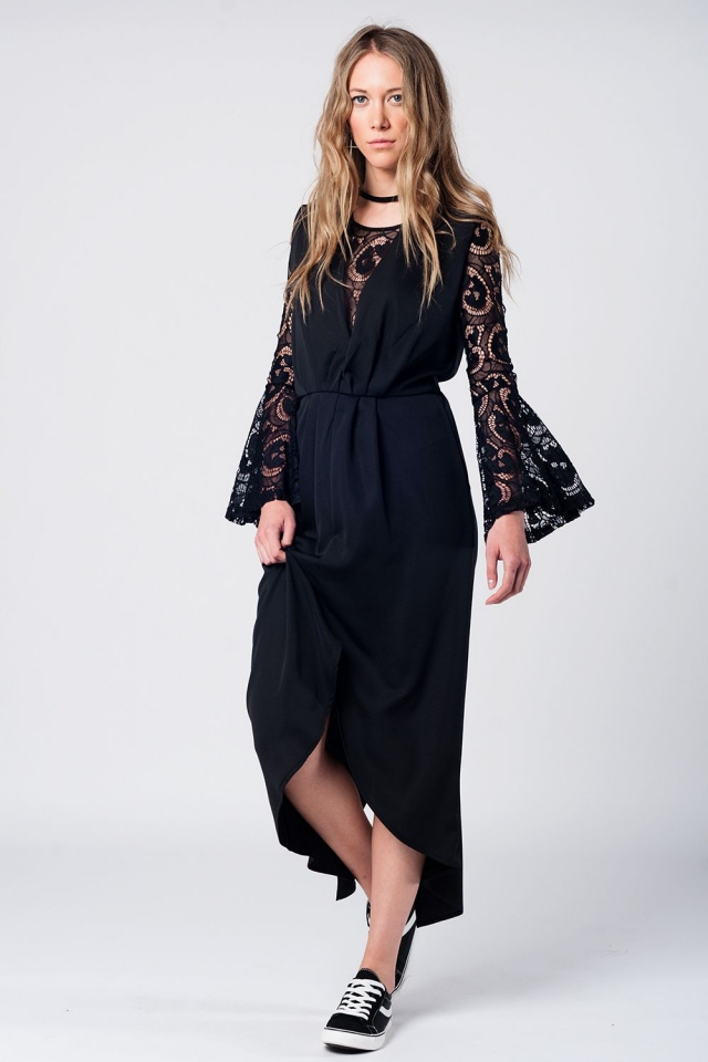 Black tie waist maxi dress