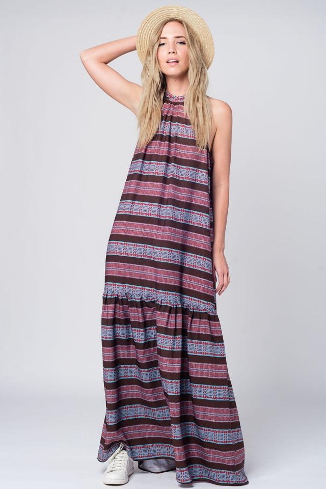 Longue robe navy imprimée