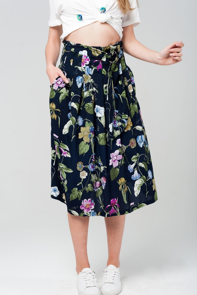 Robe midi navy imprimé floral