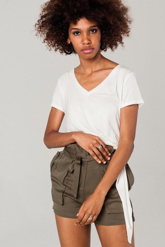 T-shirt blanc asymétrique
