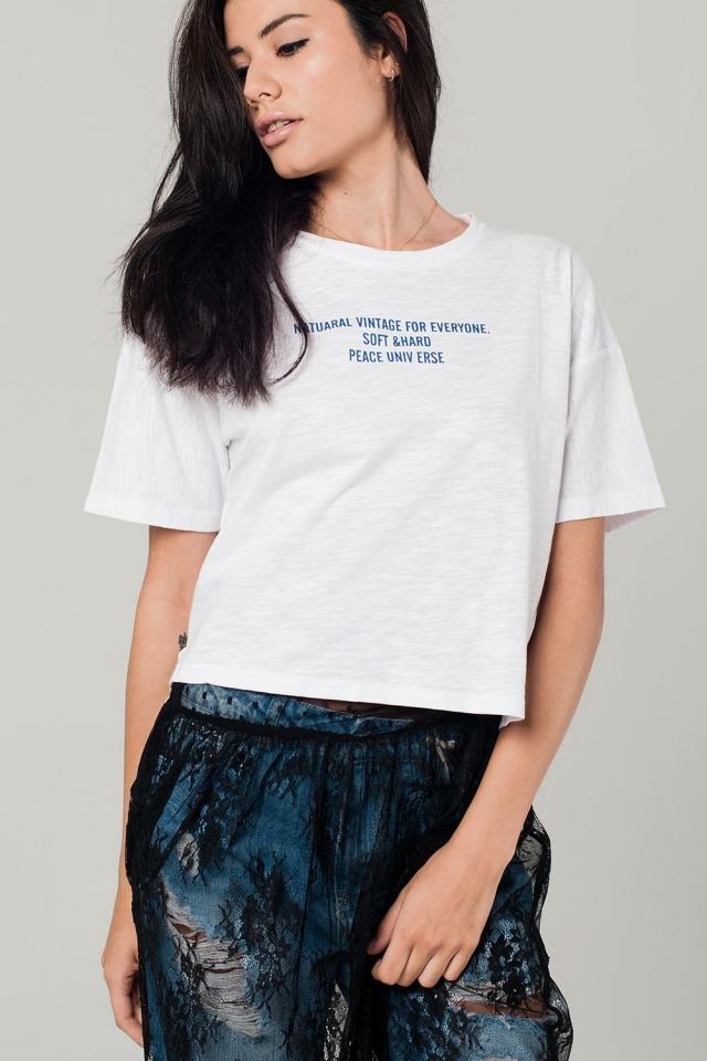 T-shirt blanc avec détail texte