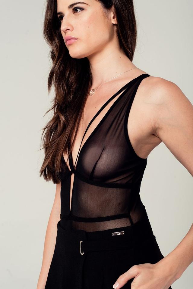 Body noir avec détail transparent