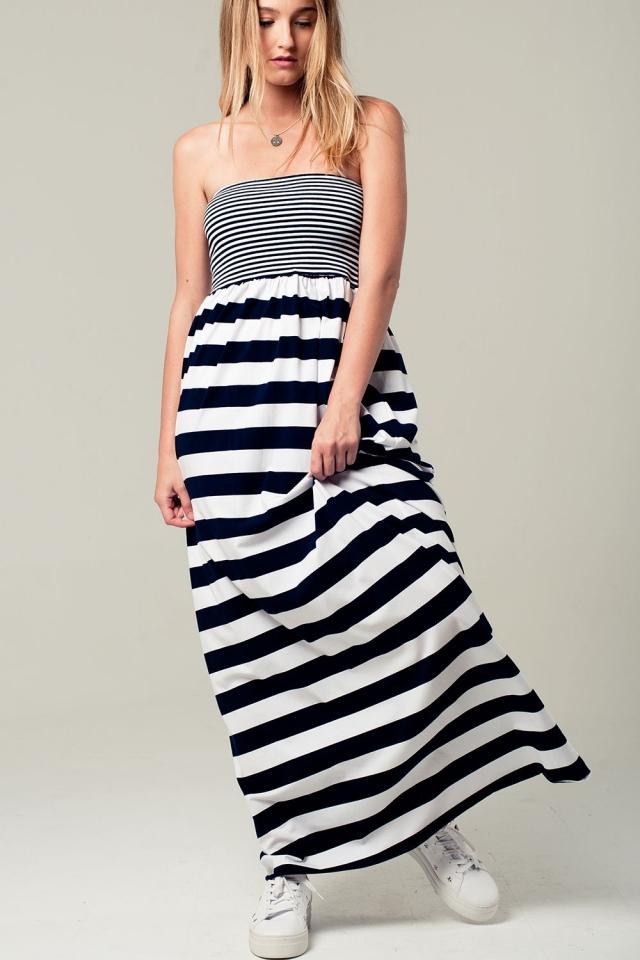 Maxi robe rayée navy avec bandeau