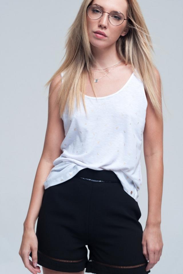 T-shirt blanc imprimé sans manches