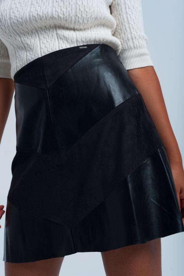 Jupe noir bi-matière