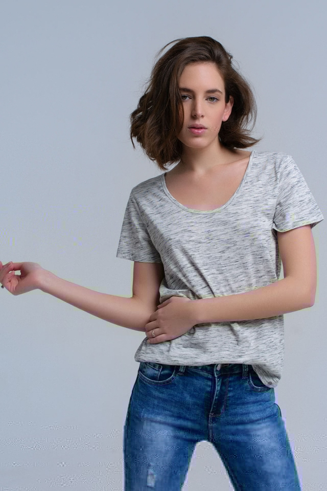 T-shirt gris à imprimé tacheté