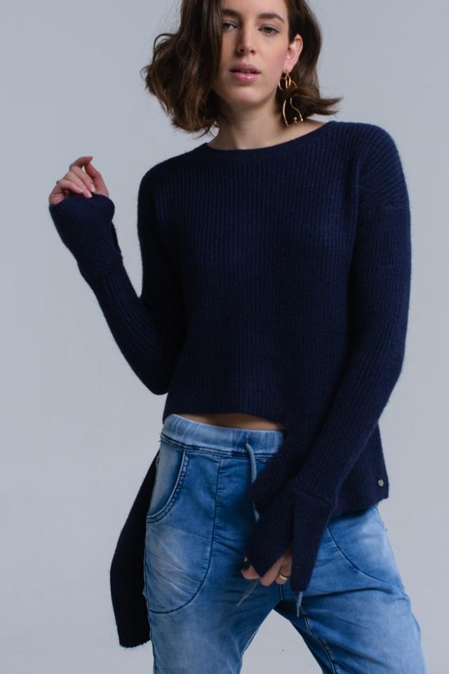 Pull asymétrique en tricot bleu marine