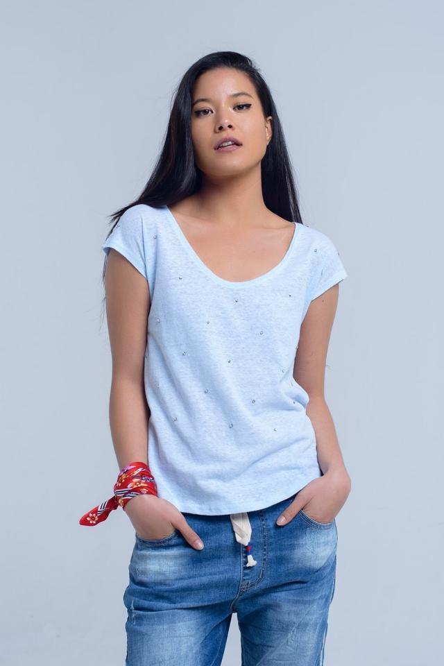 T-shirt bleu avec des strass de cristal