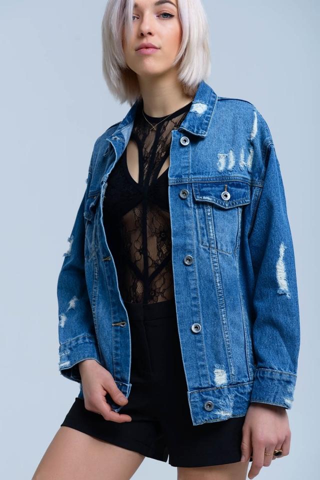 Veste en jean avec détail déchiré