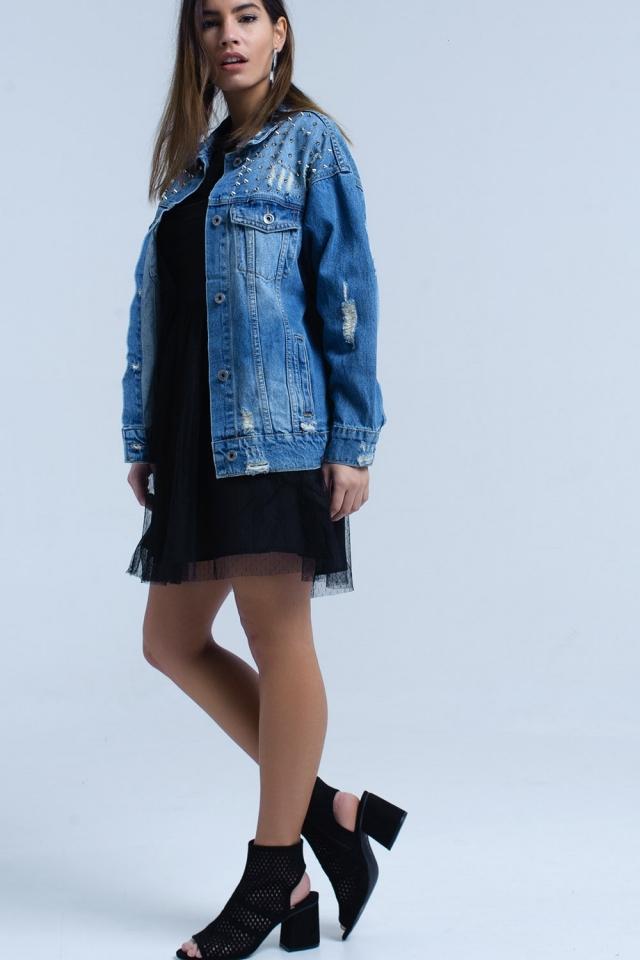 Veste en jean avec détail clouté