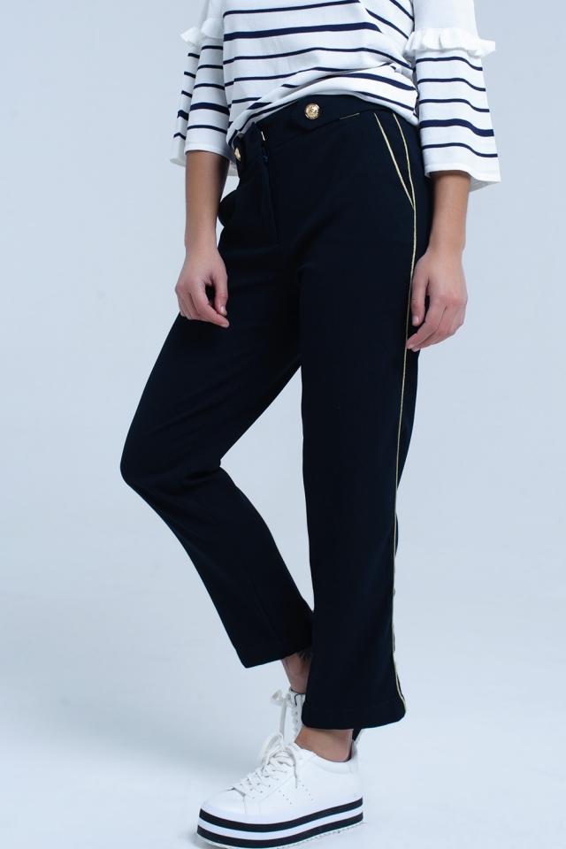 Pantalon bleu marine avec bordure contrastante