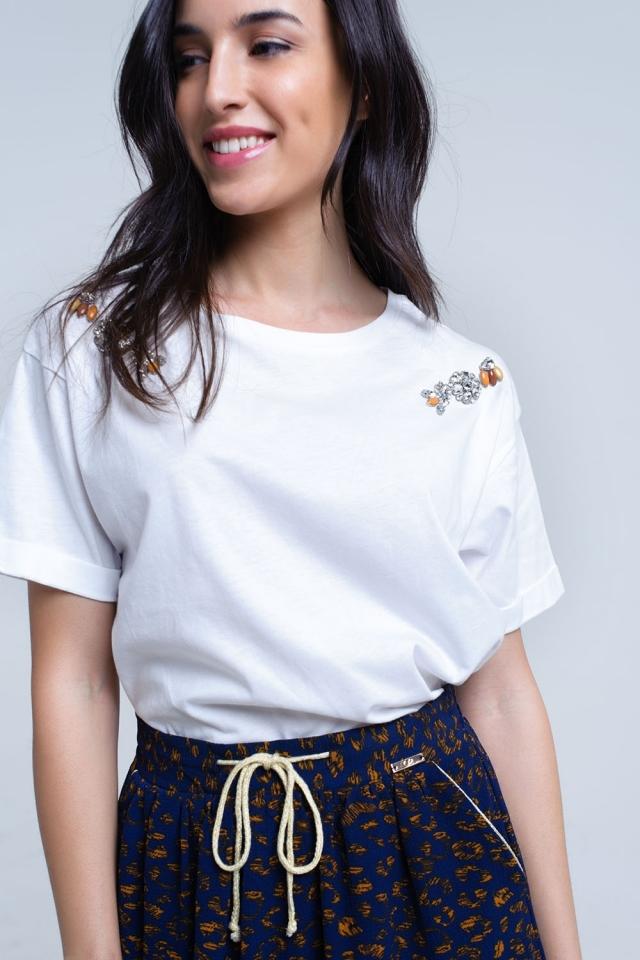 T-shirt blanc avec des strass de cristal
