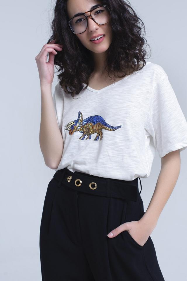 T-shirt blanc avec rhinocéros en paillettes