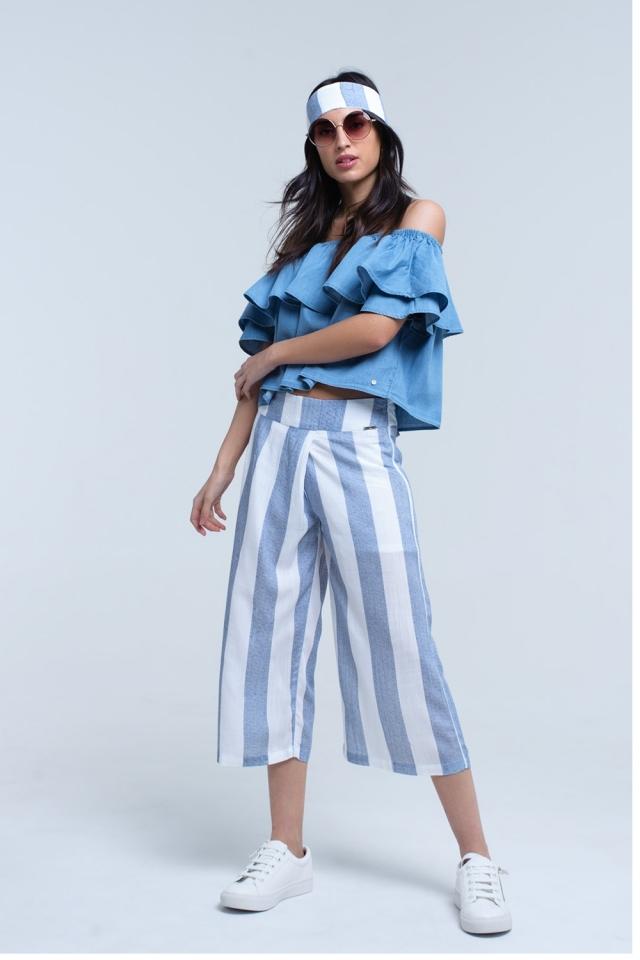 Pantalon large à rayures bleu clair