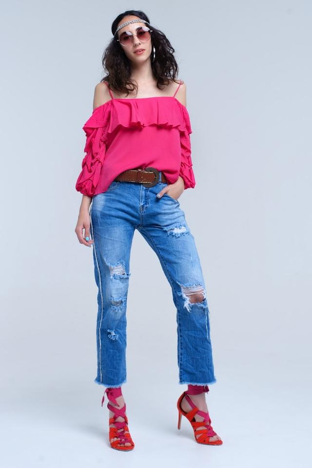 Jeans mom avec déchirures et détail de côté de cristal