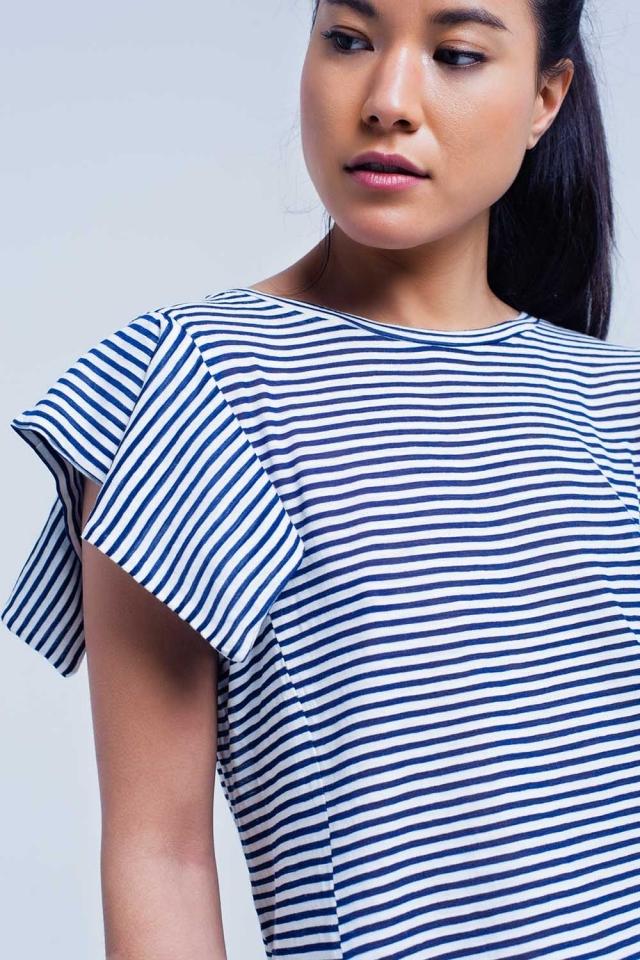 T-shirt manches courtes à rayures bleu marine