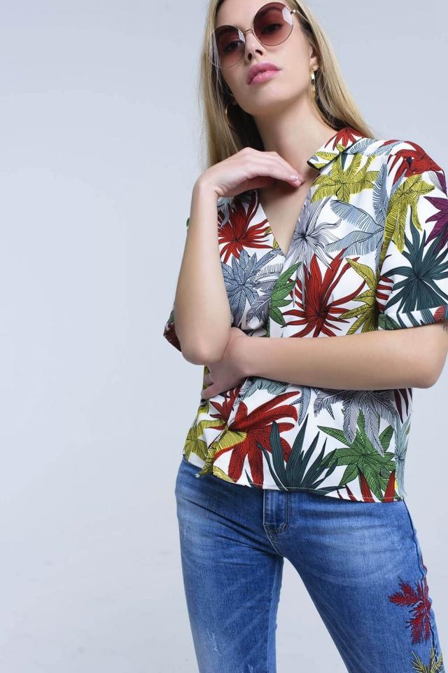Chemise blanche à imprimé feuilles