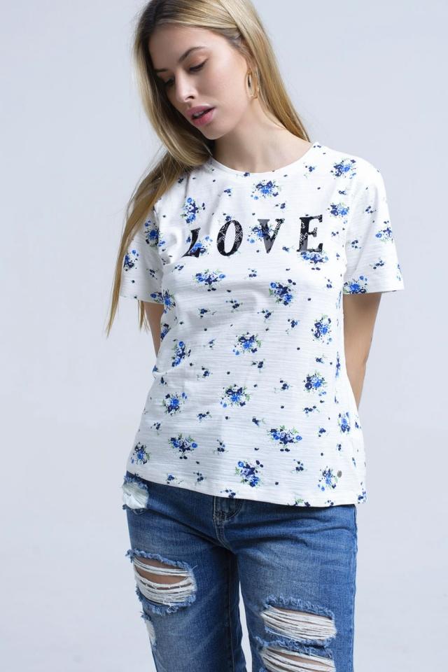 T-shirt avec imprimé floral et logo