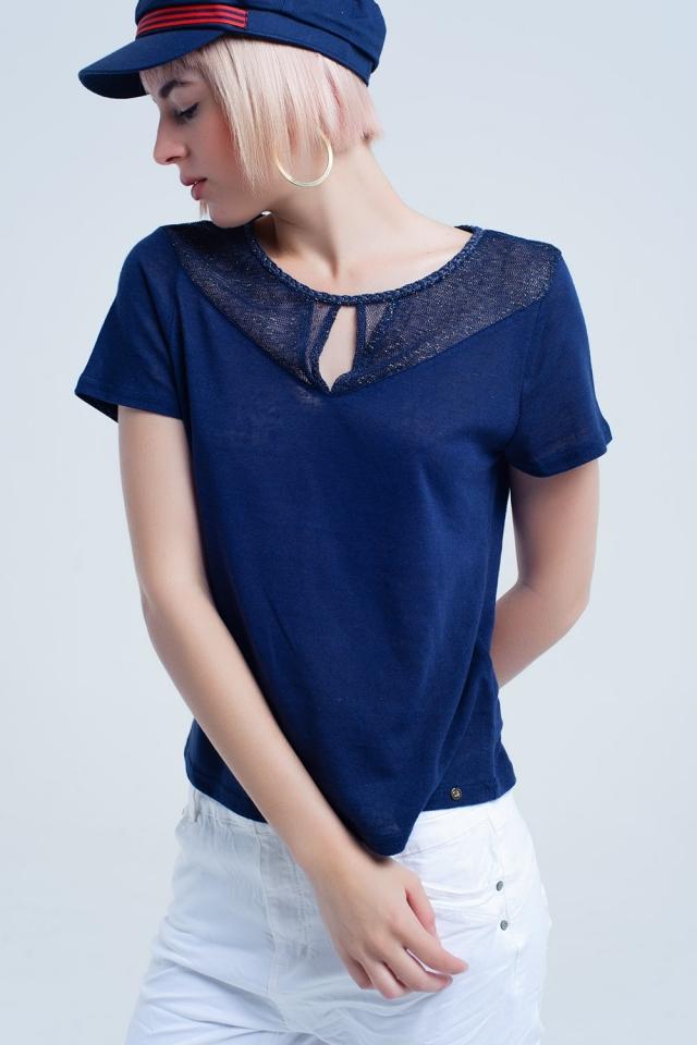 Chemise bleu marine avec maille
