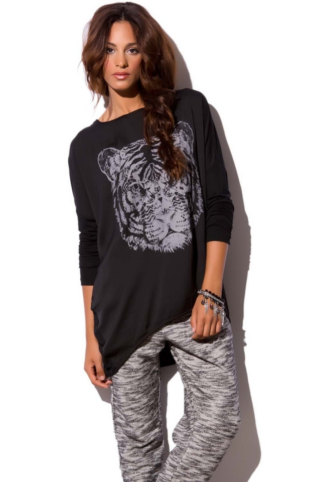 Tunique noire en imprimé tigre