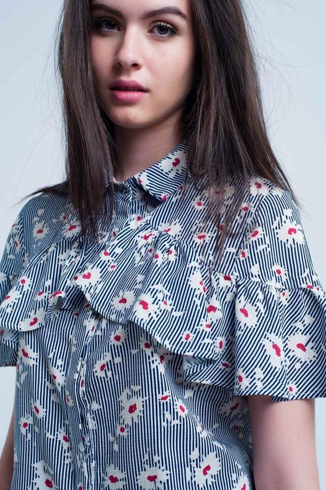 Chemise bleue à motif floral et rayures