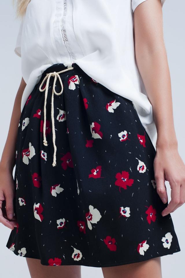 Mini jupe noire à motif floral