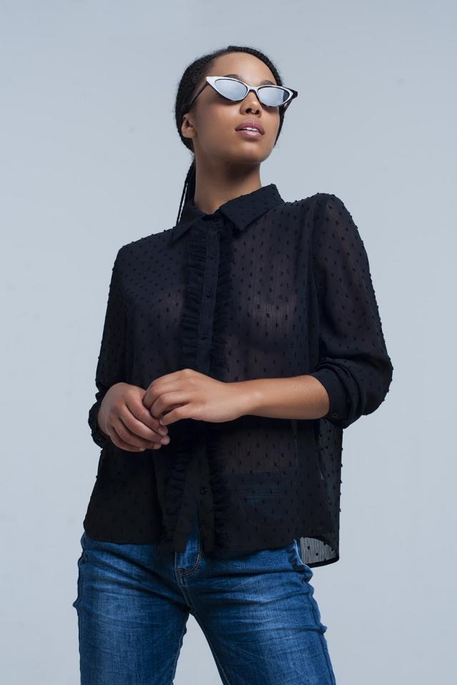 Chemise noire à pois brodés