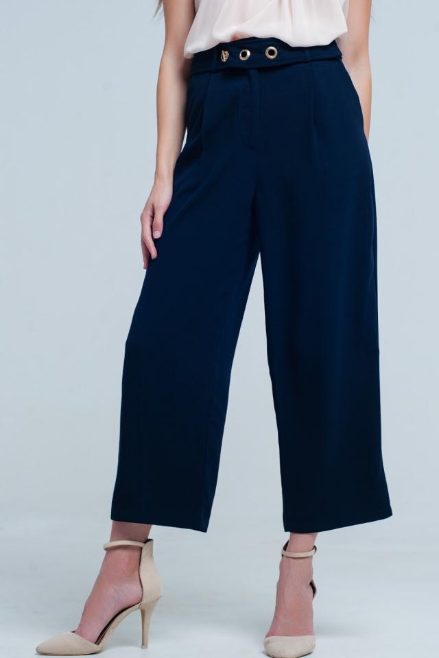 Pantalon cheville bleu marine avec ceinture