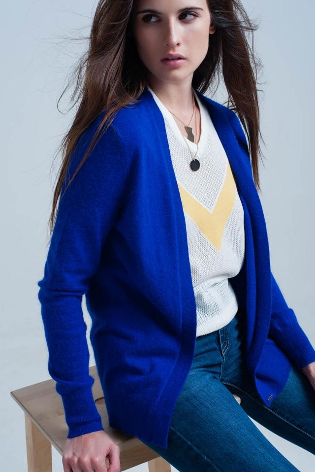 Cardigan manches longues doux bleu