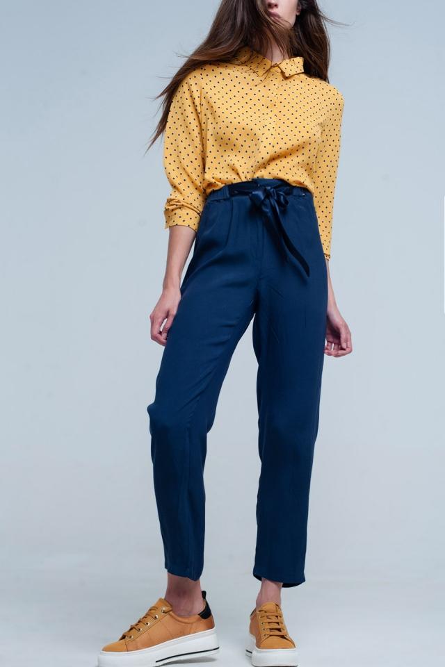 Pantalon Bleu marine avec Ceinture de satin