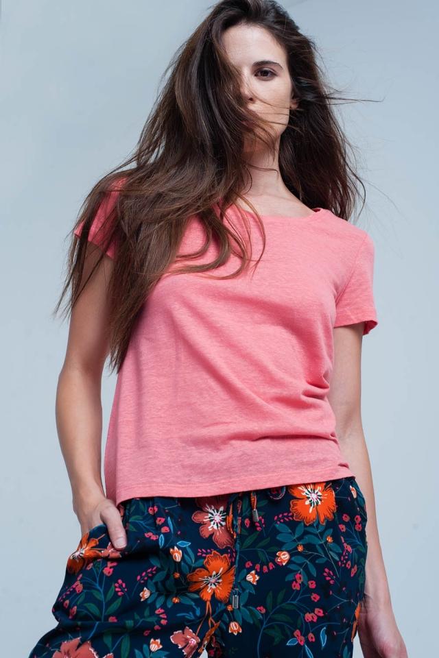 T-shirt corail avec détails crochet sur le dos