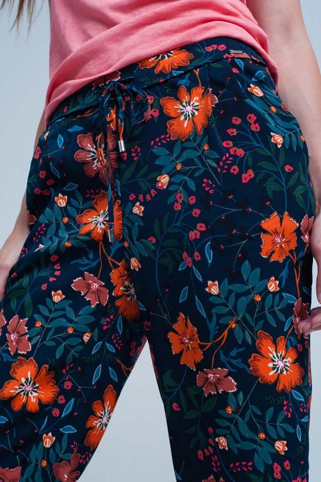 Pantalon à fleurs à nouer à la taille