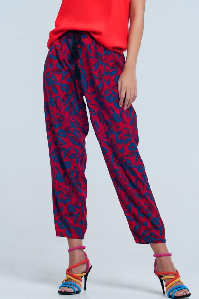 Pantalon coupe large à fleurs rouge