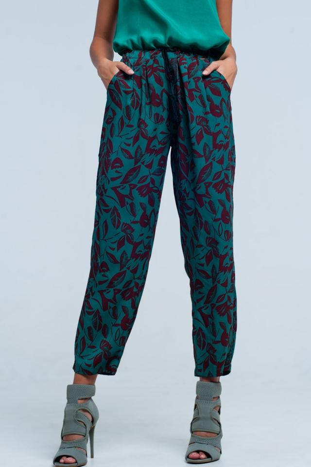 Pantalon coupe large à fleurs vert