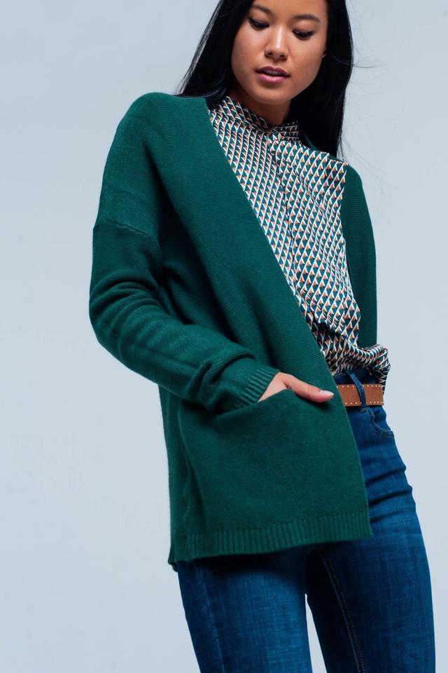 Cardigan vert avec poches