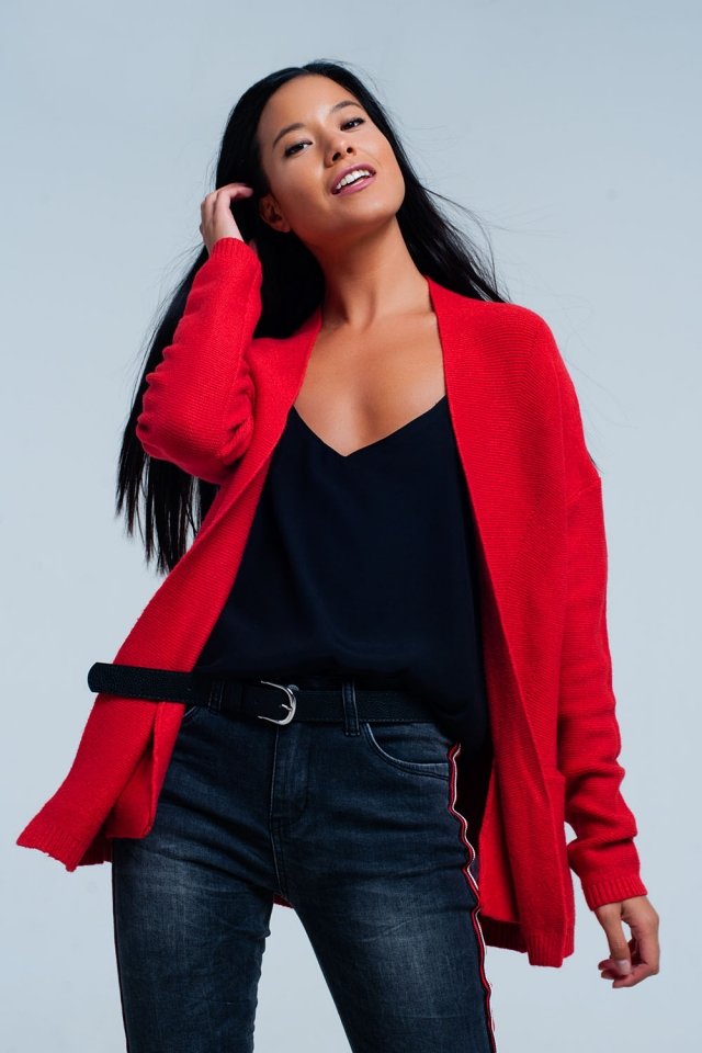 Cardigan rouge avec poches