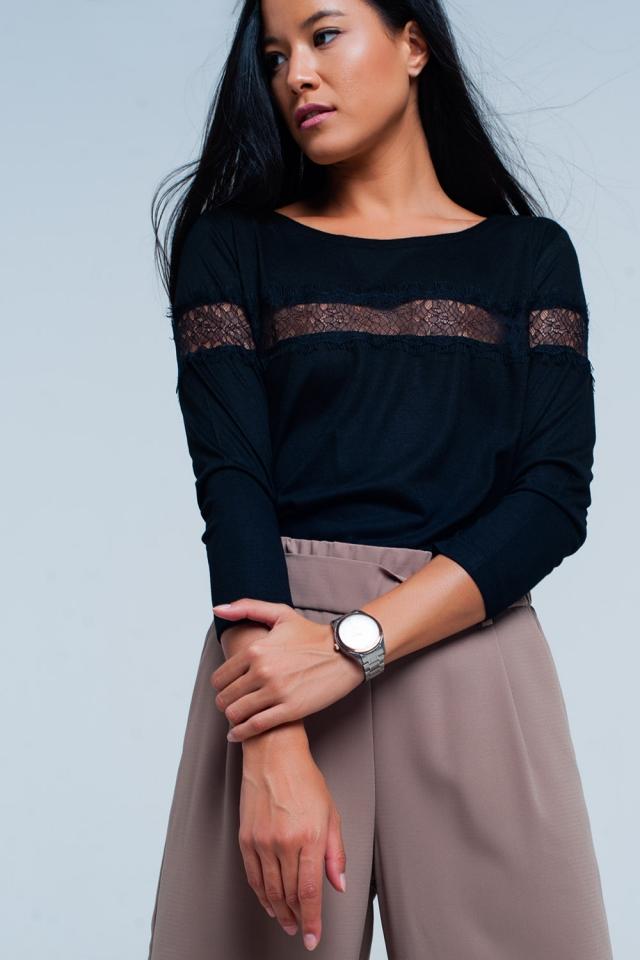 T-shirt noir à manches 3/4 à bordure frangée