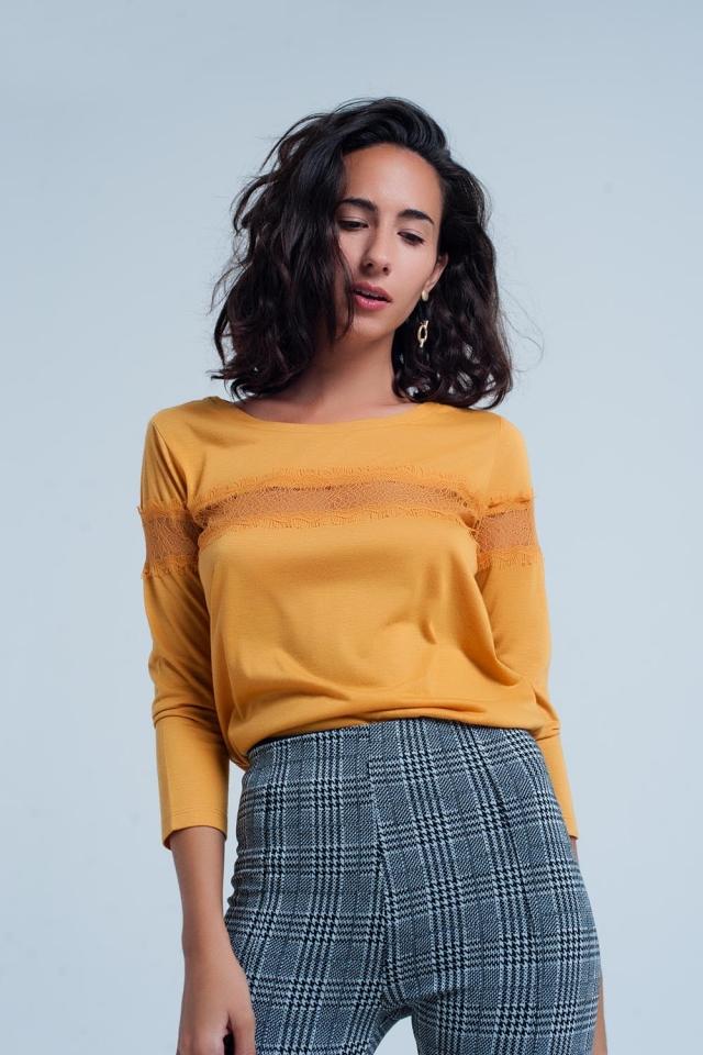 T-shirt mustard à manches 3/4 à bordure frangée