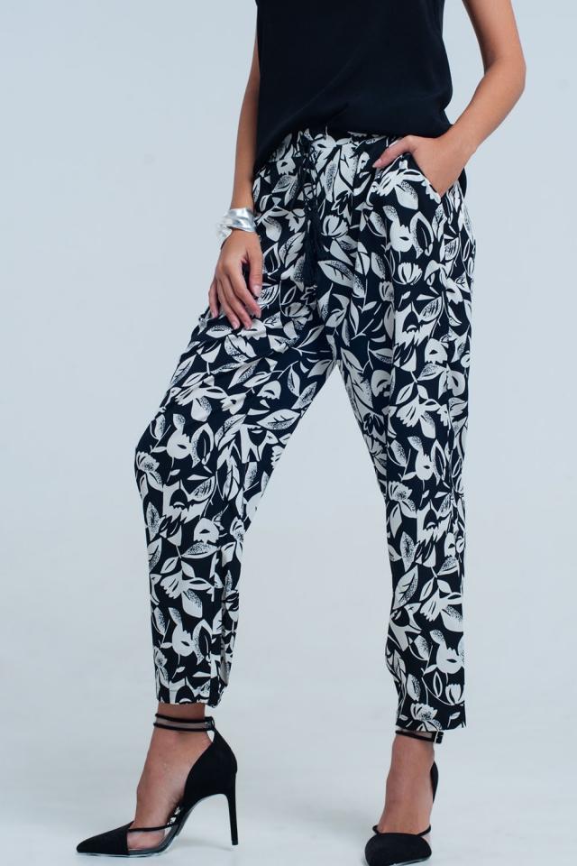 Pantalon jambes larges floral noir